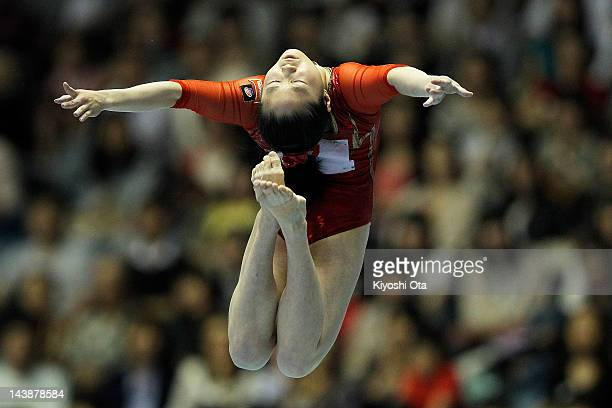 Koko Tsurumi competes in the Women's Balance Beam final during day two of the 51st Artistic Gymnastics NHK Trophy at Yoyogi National Gymnasium on May...