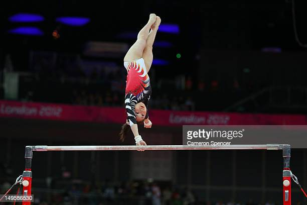 Koko Tsurumi of Japan competes in the uneven bars in the Artistic Gymnastics Women's Team final on Day 4 of the London 2012 Olympic Games at North...