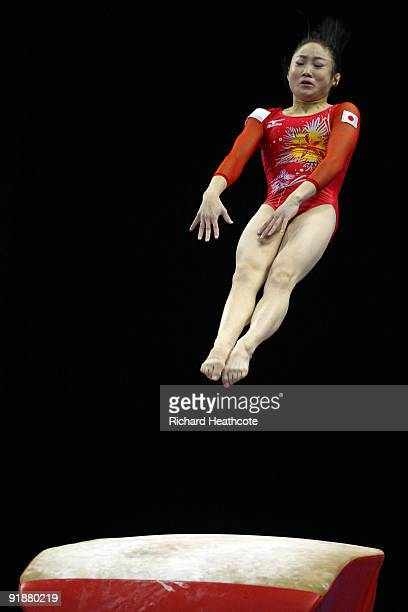 Koko Tsurumi of Japan competes in the vault event during the second day of the Artistic Gymnastics World Championships 2009 at O2 Arena on October 14...