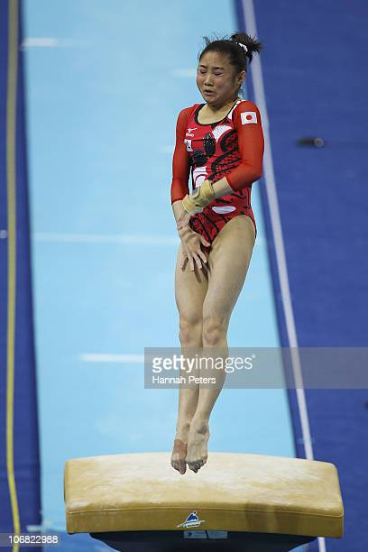 Koko Tsurumi of Japan competes in the Women's Team Final vault discipline at the Asian Games Town Gymnasium during day two of the 16th Asian Games...