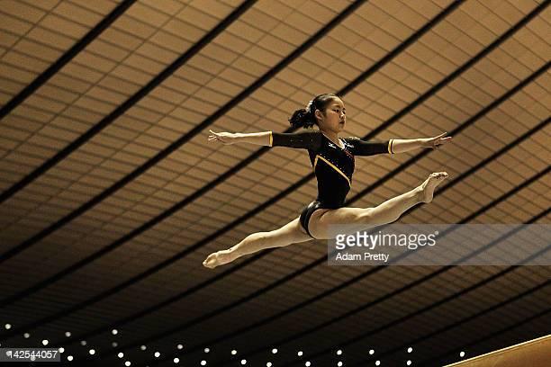 Koko Tsurumi of Japan competes on the Balance Beam during day one of the 66th All Japan Artistic Gymnastics All Around Championships at Yoyogi...