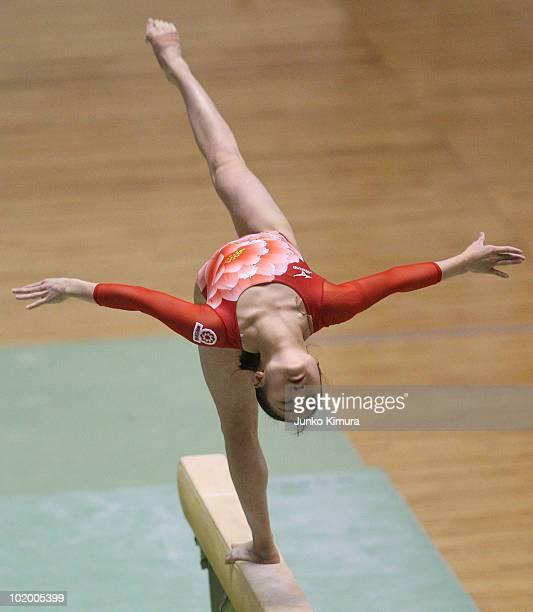 Koko Tsurumi of Japan competes on the Beam during the Artistic Gymnastics 49th NHK Cup at Yoyogi National Stadium on June 12 2010 in Tokyo Japan
