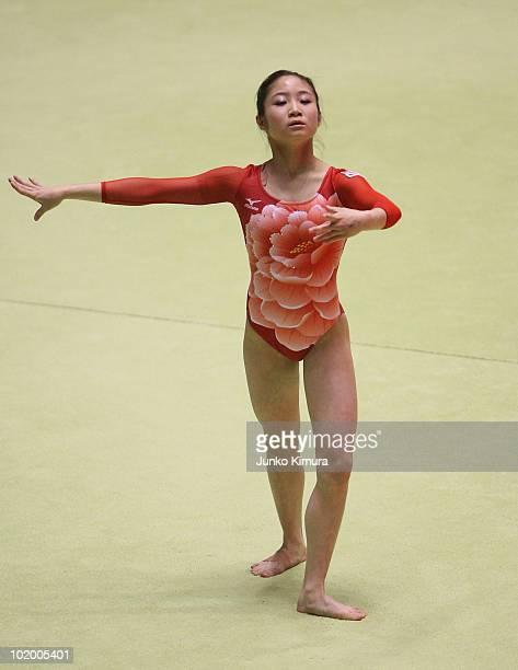 Koko Tsurumi of Japan competes on the floor during the Artistic Gymnastics 49th NHK Cup at Yoyogi National Gymnasium on June 12 2010 in Tokyo Japan