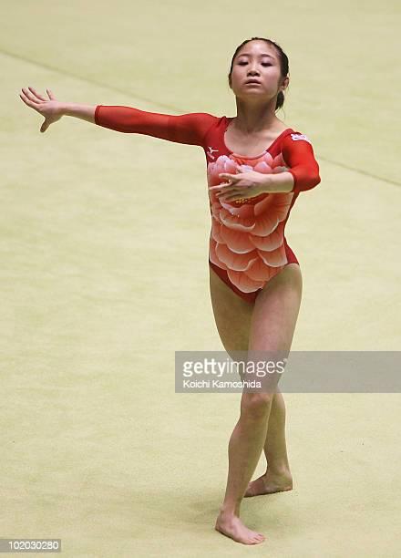 Koko Tsurumi of Japan competes on the floor during the Artistic Gymnastics 49th NHK Cup at Yoyogi National Stadium on June 13 2010 in Tokyo Japan