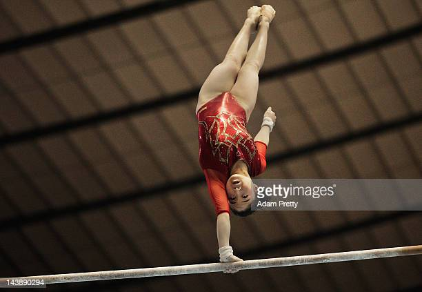 Koko Tsurumi of Japan performs her uneven bars routine during day two of the Artistic Gymnastics NHK Trophy at Yoyogi National Gymnasium on May 5...