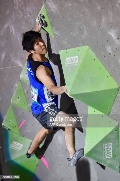 Kokoro Fujii of Japan competes during the men's event of the IFSC Bouldering Worldcup in the southern German city of Munich on August 19 2017 / AFP...