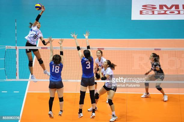 Kokram Pimpichaya of Thailand spikes during the 19th Asian Senior Women's Volleyball Championship 2017 Final match between Thailand and Japan at...