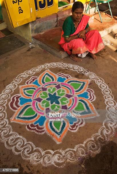 Kolam decoration for Pongal festival