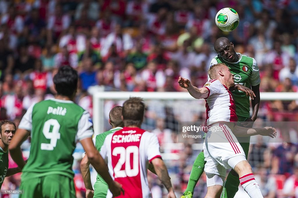 Kolbeinn Sigthorsson of Ajax, Bruno Martins Indi of Feyenoord during the Dutch Eredivisie match between Ajax Amsterdam and Feyenoord on August 18, 2013 at the Amsterdam Arena in Amsterdam, The Netherlands.