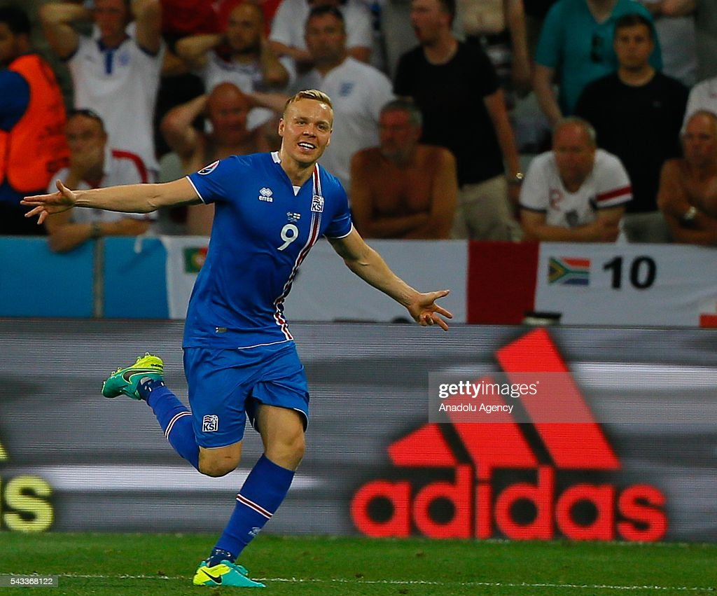 Kolbeinn Sigthorsson of Iceland celebrates after scoring a goal during the UEFA Euro 2016 Round of 16 football match between Iceland and England at Stade de Nice in Nice, France on June 27, 2016.