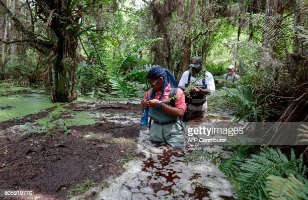 Kolby CantueChette and war veteran Chad Brown walk in a swamp during a training with Soul River group at the Arthur R Marshall Loxahatchee National...