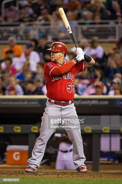 Kole Calhoun of the Los Angeles Angels bats against the Minnesota Twins on September 17 2015 at Target Field in Minneapolis Minnesota The Angels...