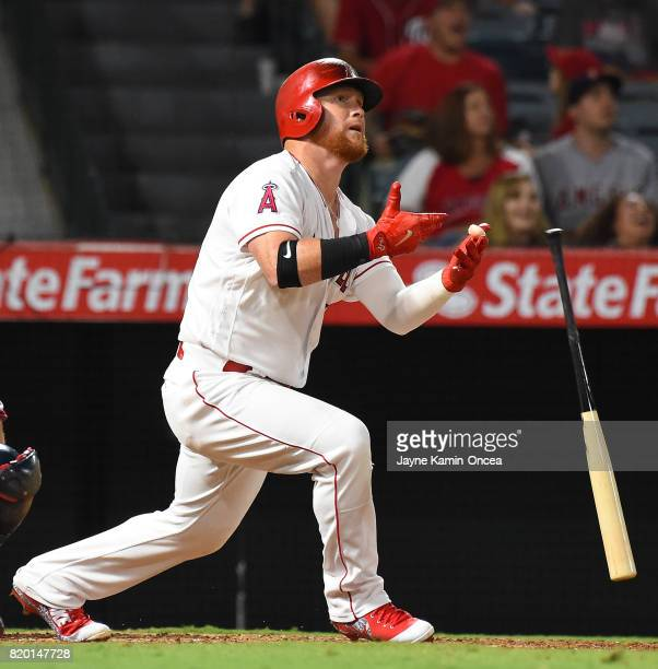 Kole Calhoun of the Los Angeles Angels doubles in the game against the Washington Nationals at Angel Stadium of Anaheim on July 18 2017 in Anaheim...