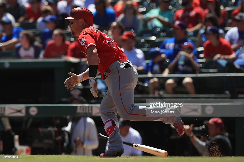 Kole Calhoun #56 of the Los Angeles Angels hits a rbi single against the Texas Rangers in the third inning at Globe Life Park in Arlington on May 1, 2016 in Arlington, Texas.