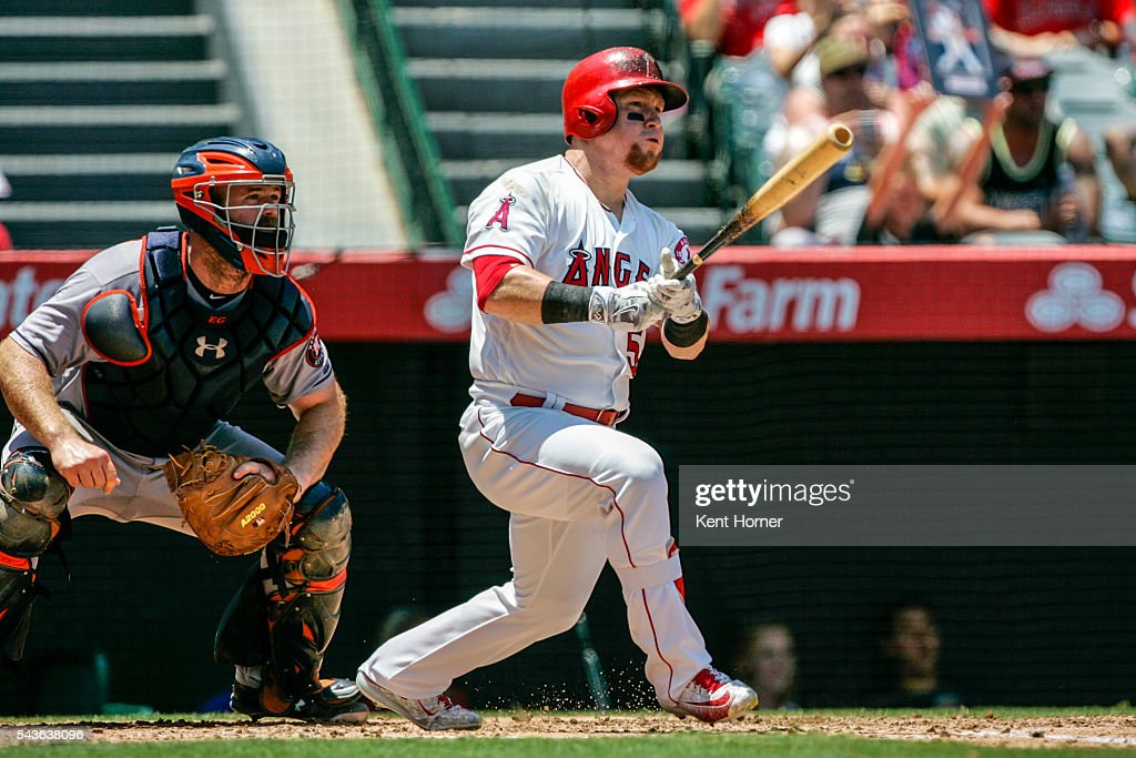 <a gi-track='captionPersonalityLinkClicked' href=/galleries/search?phrase=Kole+Calhoun&family=editorial&specificpeople=9008672 ng-click='$event.stopPropagation()'>Kole Calhoun</a> #56 of the Los Angeles Angels hits a triple in the 2nd inning against the Houston Astros at Angel Stadium of Anaheim on June 29, 2016 in Anaheim, California.