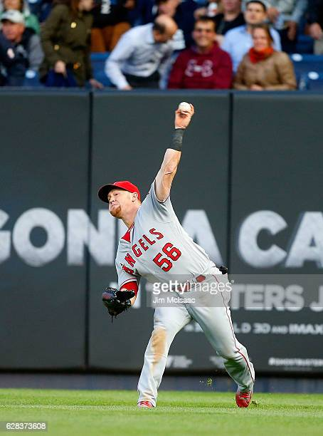 Kole Calhoun of the Los Angeles Angels in action against the New York Yankees at Yankee Stadium on June 8 2016 in the Bronx borough of New York City...