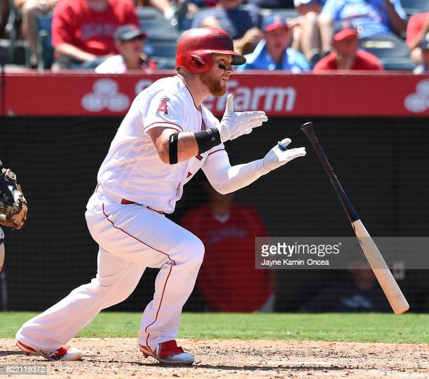 Kole Calhoun of the Los Angeles Angels of Anaheim at bat in the game against the Boston Red Sox at Angel Stadium of Anaheim on July 23 2017 in...
