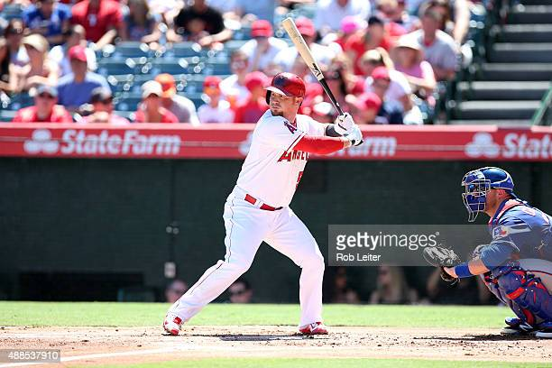 Kole Calhoun of the Los Angeles Angels of Anaheim bats during the game against the Texas Rangers at Angel Stadium on September 6 2015 in Anaheim...