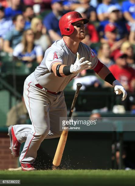 Kole Calhoun of the Los Angeles Angels of Anaheim flies out against the Texas Rangers in the eighth inning at Globe Life Park in Arlington on April...