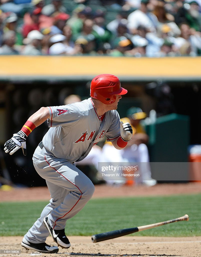 Kole Calhoun #56 of the Los Angeles Angels of Anaheim hits a double to left field for his first major league hit in the fifth inning against the Oakland Athletics at O.co Coliseum on May 23, 2012 in Oakland, California.
