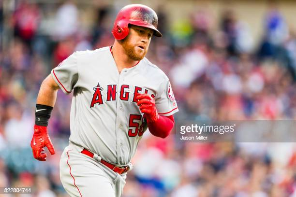 Kole Calhoun of the Los Angeles Angels of Anaheim rounds the bases on a threerun home run during the third inning against the Cleveland Indians at...