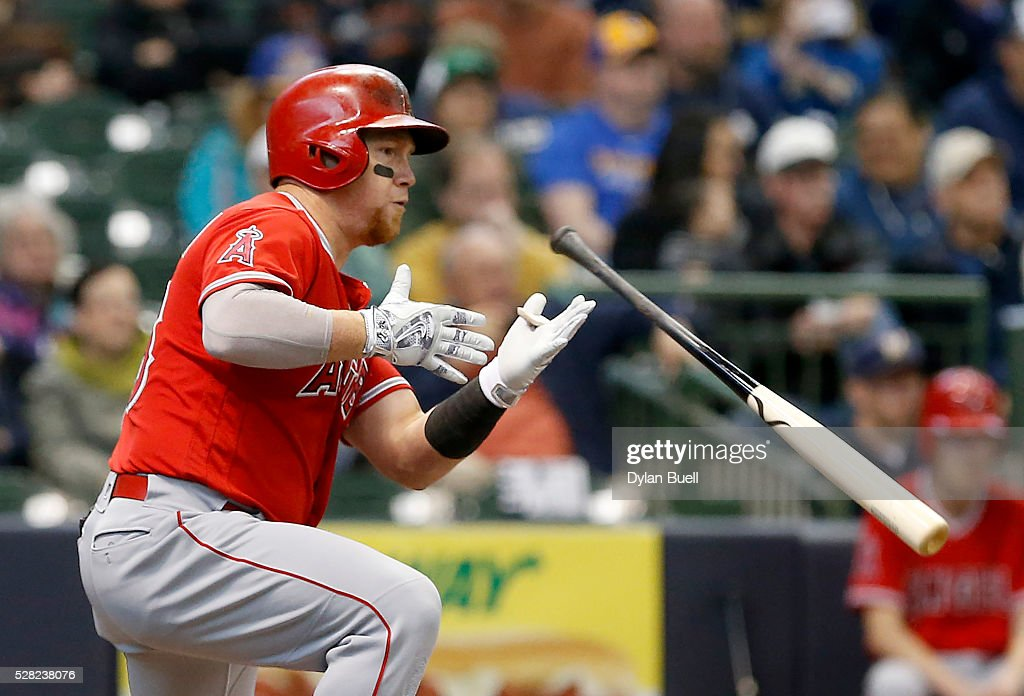 <a gi-track='captionPersonalityLinkClicked' href=/galleries/search?phrase=Kole+Calhoun&family=editorial&specificpeople=9008672 ng-click='$event.stopPropagation()'>Kole Calhoun</a> #56 of the Los Angeles Angels of Anaheim singles in the second inning against the Milwaukee Brewers at Miller Park on May 4, 2016 in Milwaukee, Wisconsin.