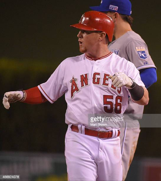 Kole Calhoun of the Los Angeles Angels of Anaheim yells towards the dugout against the Kansas City Royals during Game 2 of the American League...