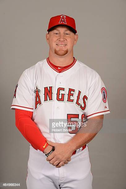 Kole Calhoun of the Los Angeles Angels poses during Photo Day on Saturday February 28 2015 at Tempe Diablo Stadium in Tempe Arizona