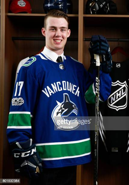 Kole Lind 33rd overall pick of the Vancouver Canucks poses for a portrait during the 2017 NHL Draft at United Center on June 24 2017 in Chicago...