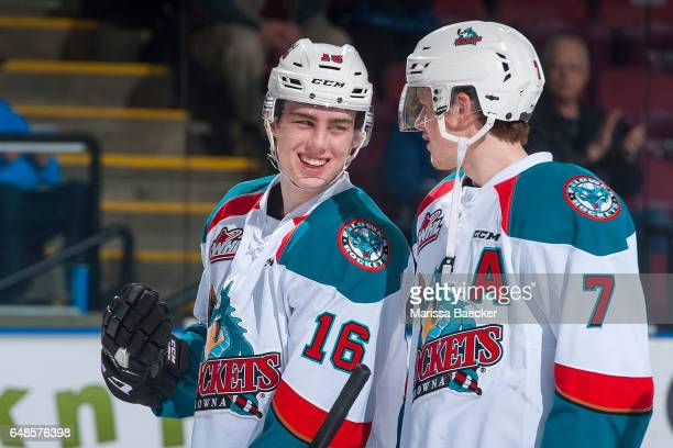Kole Lind and Lucas Johansen of the Kelowna Rockets share a laugh on the ice against the Prince George Cougars on March 1 2017 at Prospera Place in...