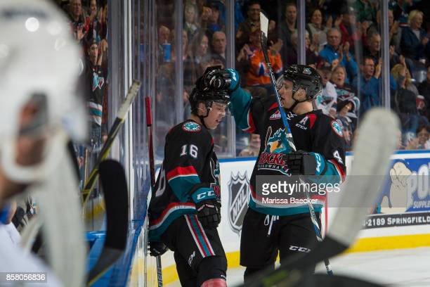 Kole Lind is congratulated by Gordie Ballhorn of the Kelowna Rockets on a first period goal against the Victoria Royals at Prospera Place on October...