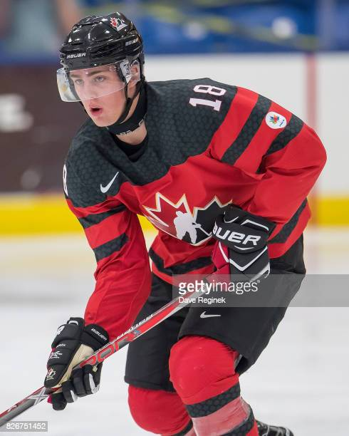 Kole Lind of Canada skates up ice against Finland during a World Jr Summer Showcase game at USA Hockey Arena on August 2 2017 in Plymouth Michigan...