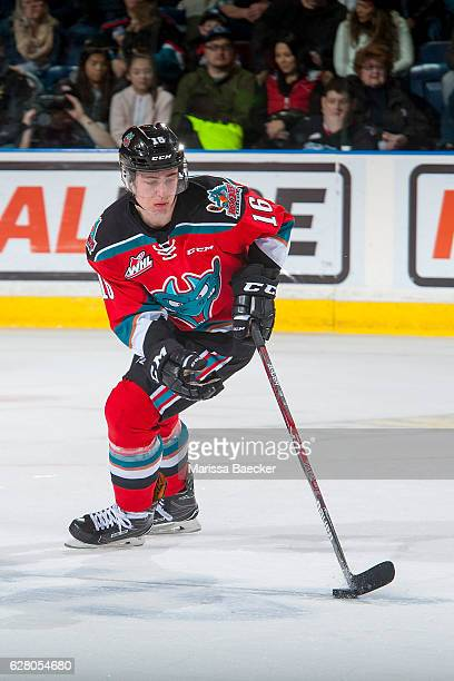 Kole Lind of the Kelowna Rockets skates with the puck against the Brandon Wheat Kings on December 3 2016 at Prospera Place in Kelowna British...