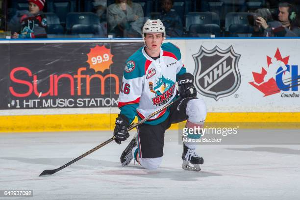 Kole Lind of the Kelowna Rockets stretches on the ice during warm up against the Spokane Chiefs on February 17 2017 at Prospera Place in Kelowna...