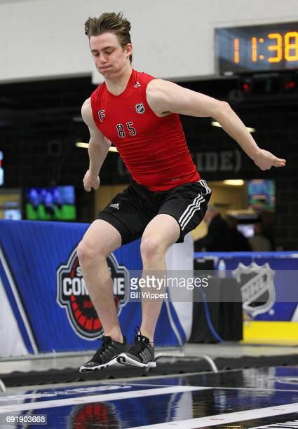 Kole Lind performs a Long Jump during the NHL Combine at HarborCenter on June 3 2017 in Buffalo New York