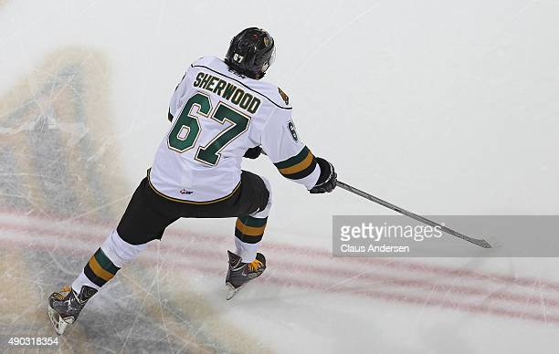 Kole Sherwood of the London Knights skates against the Kingston Frontenacs during an OHL game at Budweiser Gardens on September 26 2015 in London...