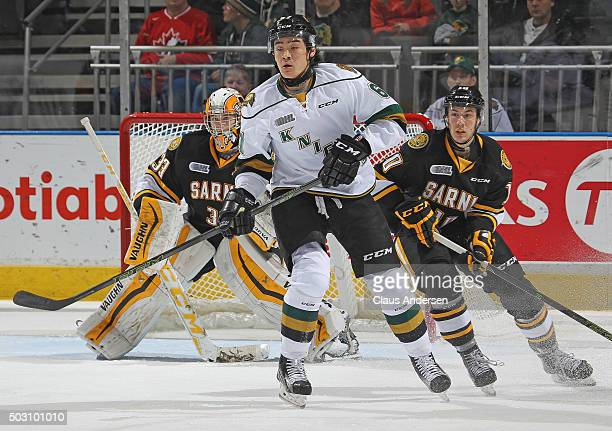 Kole Sherwood of the London Knights skates against the Sarnia Sting in an OHL game at Budweiser Gardens on December 31 2015 in London Ontario Canada...