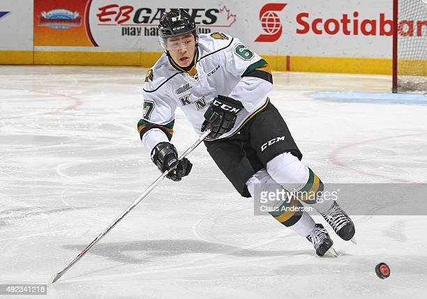 Kole Sherwood of the London Knights skates with the puck against the Sudbury Wolves during an OHL game at Budweiser Gardens on October 9 2015 in...