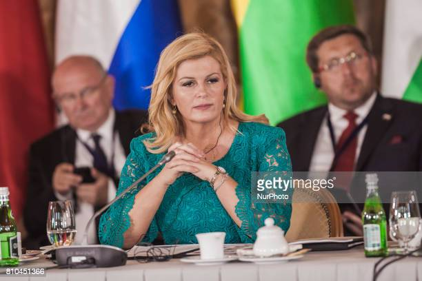 Kolinda GrabarKitarovic the President of the Republic of Croatia in the Three Seas Initiative Summit in Warsaw Poland