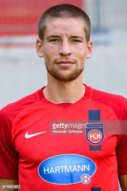 Kolja Pusch of 1 FC Heidenheim poses during the team presentation at Voith Arena on July 8 2017 in Heidenheim Germany