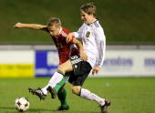 Kolja Pusch of U17 Germany fights Gergoe Nagy of U17 Hungary during the U17 Euro Qualifier match between Hungary and Germany at the ESP Stadium on...