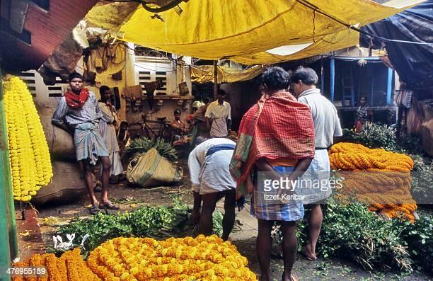Kolkata colorful flower market scene