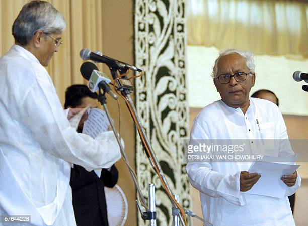 Chief Minister of the Indian state of West Bengal Buddhadev Bhattacharya prepares to be sworn in as the Governor of West Bengal Gopal Krishna Gandhi...