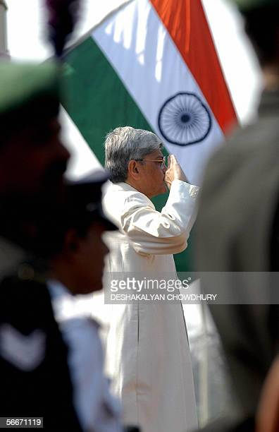 Govornor of eastern Indian state of West Bengal Gopal Krishna Gandhi takes the salute at a ceremonial parade to mark the 57th annual Republic Day in...