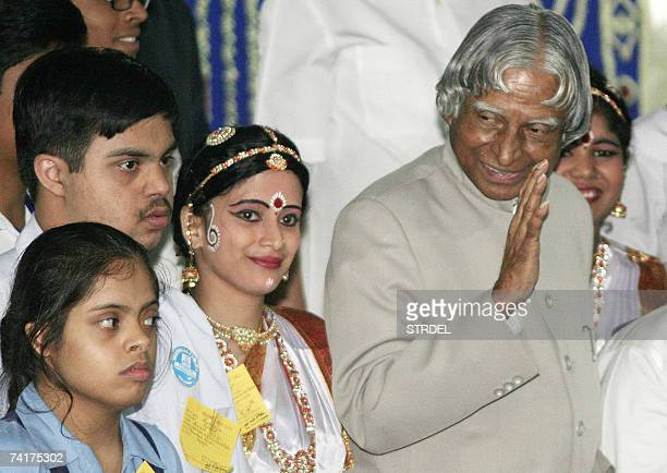Indian president A P J Abdul Kalam talks with students of the 'Manobikash Kendra' Rehabilitation and Research Institute for the Handicapped during an...