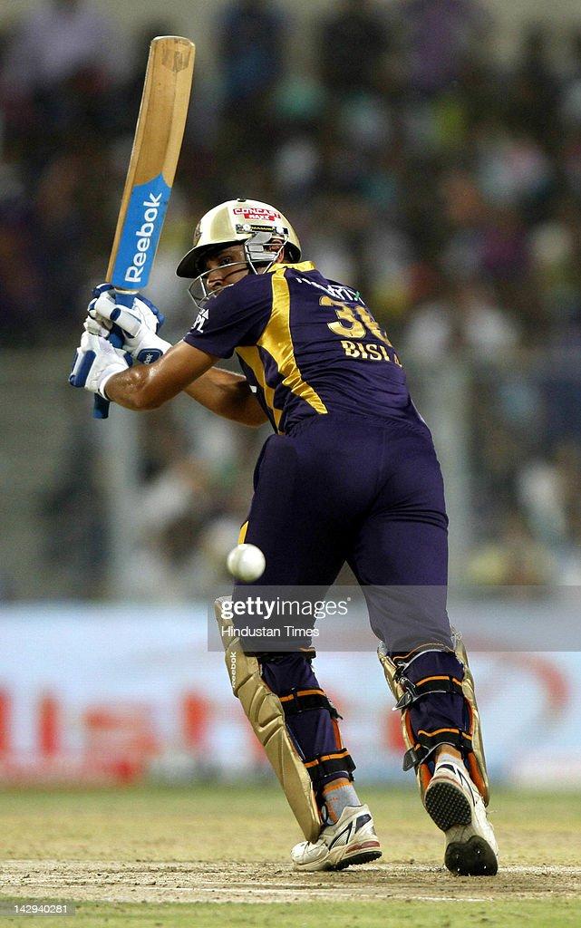 Kolkata Knight Riders batsman Manvinder Bisla plays a shot during the IPL 5 cricket match played between Kings XI Punjab and Kolkata Knight Riders at Eden Gardens on April 15, 2012 in Kolkata, India. In a nail bitting contest Kings XI Punjab managed to win by 2 runs.