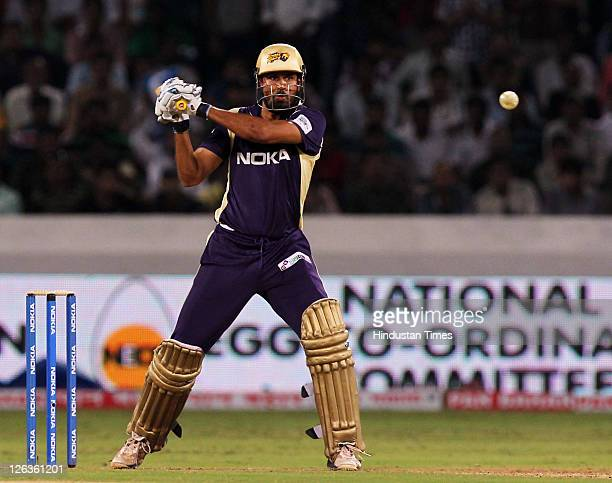 Kolkata Knight Riders batsman Yusuf Pathan gets in position to play a shot during the Champions League Twenty20 Group B match between Kolkata Knight...