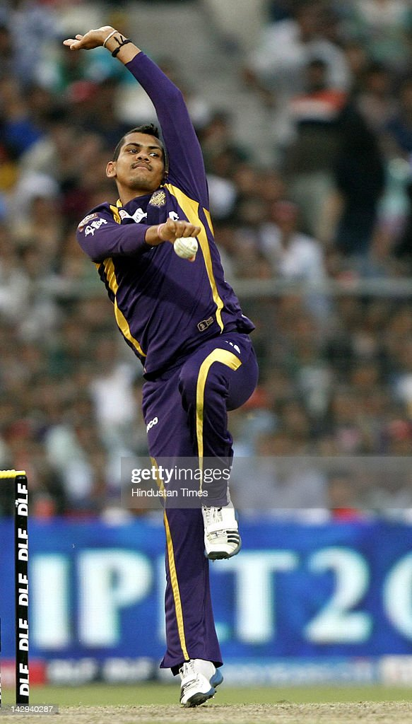 Kolkata Knight Riders bowler Sunil Narine bowling a ball during the IPL 5 cricket match played between Kings XI Punjab and Kolkata Knight Riders at Eden Gardens on April 15, 2012 in Kolkata, India. In a nail bitting contest Kings XI Punjab managed to win by 2 runs.