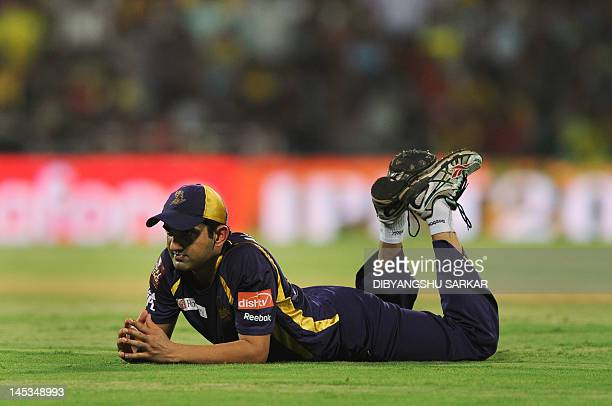 Kolkata Knight Riders captain Gautam Gambhir looks on after missing the ball during the IPL Twenty20 cricket final match between Chennai Super Kings...
