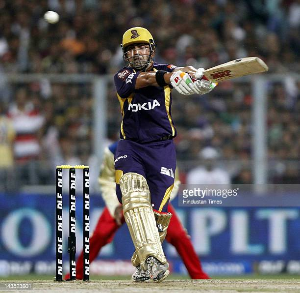 Kolkata Knight Riders captain Gautam Gambhir plays a shot during IPL 5 T20 cricket match against Royal Challengers Bangalore at Eden Gardens on April...